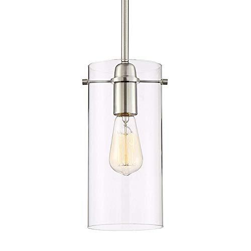 Xiao Yun ☞ * Nordic Modern Minimalist Chandelier Pendelleuchte mit Glaszylinder-Lampenschirm, Nickel gebürstet (Hängelampe) ☜