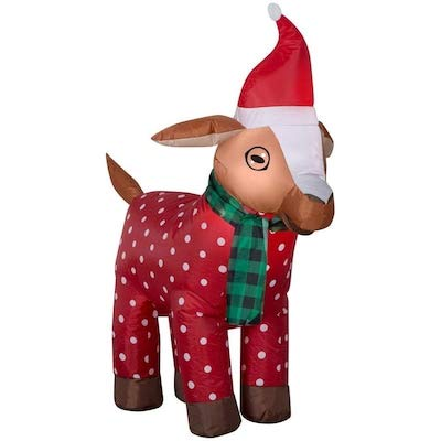 Gemmy 3.5FT Inflatable Christmas Goat with Scarf and Santa Hat Indoor/Outdoor Holiday Decoration