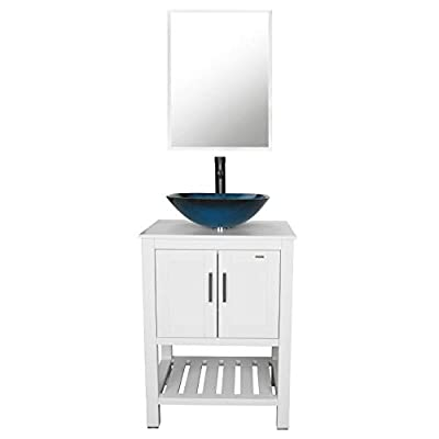 "eclife 24"" Bathroom Vanity Sink Combo White Cabinet Vanity Ocean Blue Square Tempered Glass Vessel Sink & 1.5 GPM Water Save Faucet & Solid Brass Pop Up Drain,W/Mirror (A04B06W)"