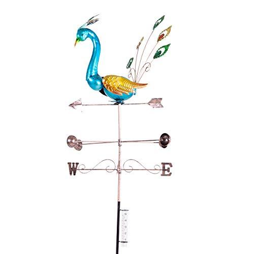 maxVitalis Wetterfahne Pfau Windspiel inkl. Regenmesser aus Metall/Glas, Outdoor Gartendeko Windrichtungsanzeiger für Rasen, Beete & Pflanztöpfe, bunt