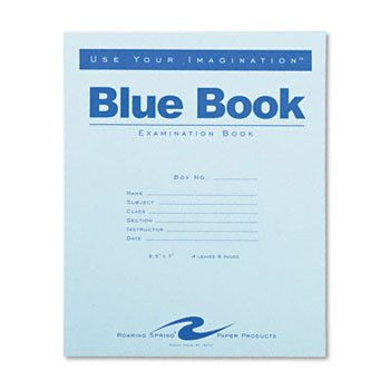 Roaring Spring® Examination Blue Book BOOK,EXAM,4SHT,WIDE,BE (Pack of100)
