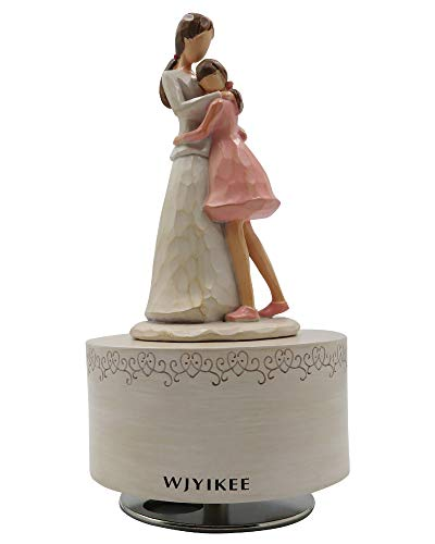 Caja de música Figura musical pintada a mano esculpida Festival de cumpleaños cálido y romántico Regalo musical Decoración de estudio de oficina en casa (Madre e hija)