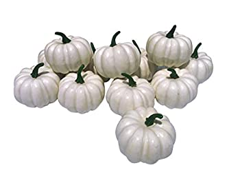 12 Pcs Artificial White Pumpkins Fake White Pumpkins Wedding Halloween Thanksgiving Tabletop Decoration  12PCS White Pumpkins