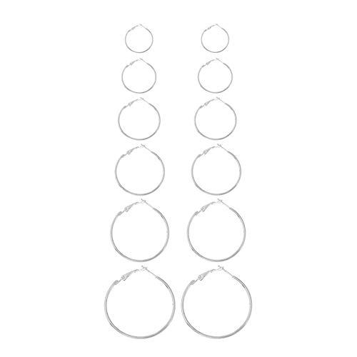 2 Farben 6 Paar/Set Ohrringe, Creolen, modisch, für Damen, Legierung, große Schnalle, Kreis