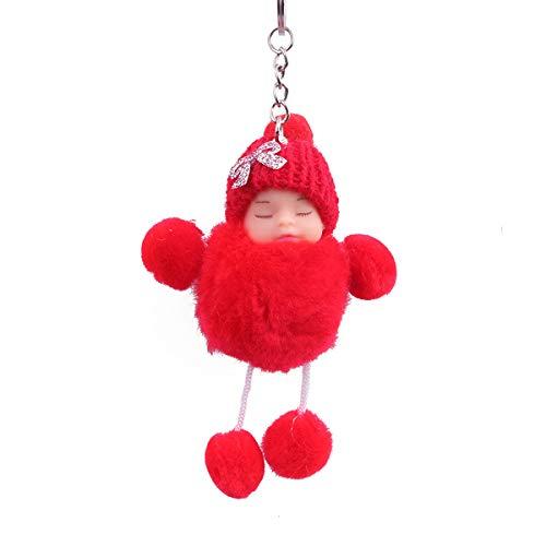 Zeagro Schlüsselanhänger aus weichem Plüsch mit niedlichem Charm, Kunstfell, Flauschiger Pompon, Schlüsselanhänger, Dekoration, 1 Stück, rot