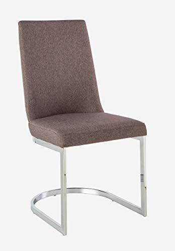 CAMINO A CASA - Chaise Design Grise et Chrome Round