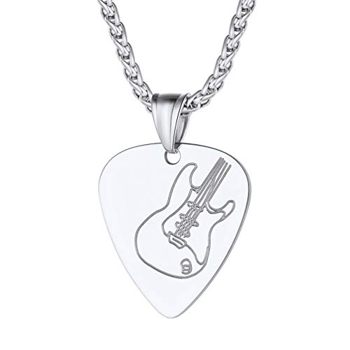 PROSTEEL Stainless Steel Guitar Pick Necklace Men Women Pendant Chain Punk Rock Music Note Jewelry Gift