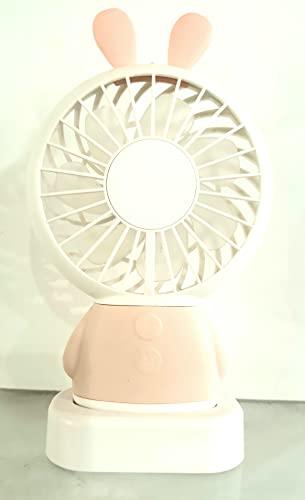 La selección, Ventilador de conejo rosa portátil luminoso recargable USB - LED multicolor 3 velocidades