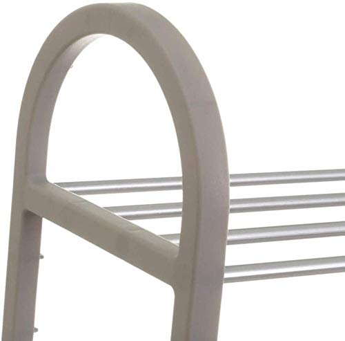 A-Generic Zapato con 4 estantes de plástico Gris Moderno Dormitorio 50 x 19 x 65 cm-4 Muebles_Gris.