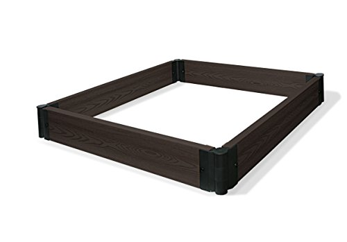"Algreen 34005 Raised Garden Bed, 48"" x 48"" x 6"", Dark Brown"