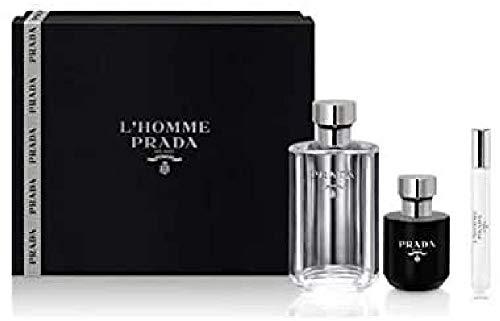 Prada Homme Eau De Toilette Spray Set 3 Pezzi 2019-100 ml