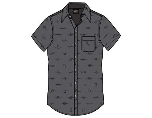 Ripple Junction Naruto: Shippuden Adult Unisex Anti Village Leaf Bi-Directional 100% Cotton Woven Button Down Shirt XL Charcoal