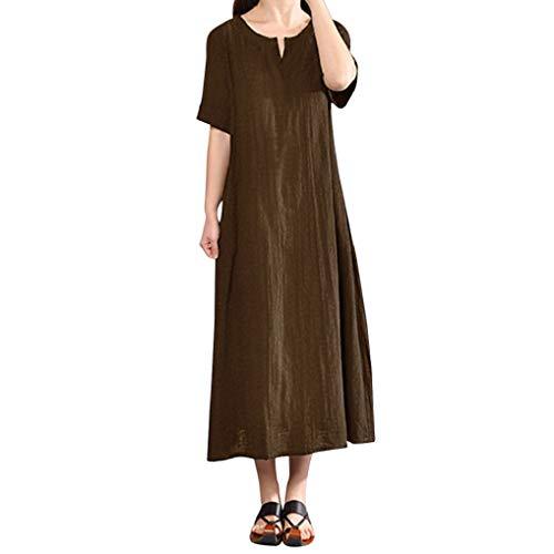 TUDUZ Sale Womens Baggy Shirt Dress Ladies Plus Size Casual Solid Bohemia V-Neck Short Sleeve Cotton Linen Maxi Dress(Coffee,5XL=UK(22))