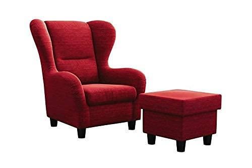 Möbelfreude Doluna Ohrensessel Rot Wohnzimmersessel mit Hocker