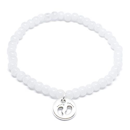 Selfmade Jewelry - Bracciale di perle in vetro con ciondolo in argento, ciondolo con impronte di piede di neonato, fatto a mano, grigio chiaro