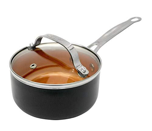 Gotham Steel Nonstick 2-Quart Sauce Pan with Tempered Glass Cover/Lid – Dishwasher Safe