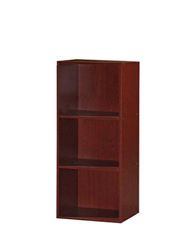 HODEDAH IMPORT Bücherregal mit 3 Regalen, Mahagoni
