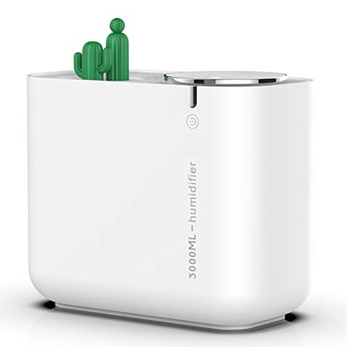 Gaoominy Humidificador Creativo de Cactus de Gran Capacidad 3L Doble Boquilla Silenciosa Humidificador de Aire de Oficina y de Casa