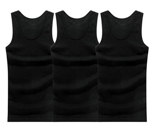 EKL 3 stks Man's Katoen Effen Naadloos Ondergoed Mouwen Tank Vest Comfortabele Onderhemd Mens Onderhemden, 3 stks,XL