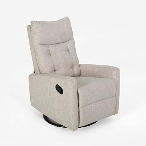 Christopher Knight Home Ishtar Glider Swivel Push Back Nursery Recliner, Beige, Black