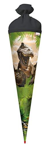 ROTH Schultüte groß Tyrannosaurus 70 cm - rund Rot(h)-Spitze Filzverschluss - Zuckertüte Dinosaurier