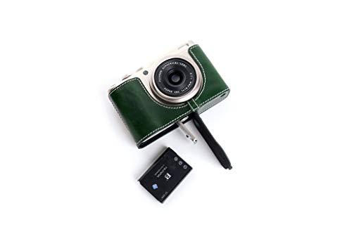 Funda de Cuero Real Hecha a Mano del Bolso de la Caja de la cámara para FUJIFILM X-F10 XF10 Color Verde