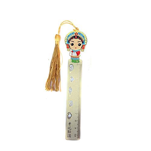 JISHI Retro Chinese Opera Art Lesezeichen Feiner Troddel Geradlinige Design for Dekorative Sammlung (Color : 01)