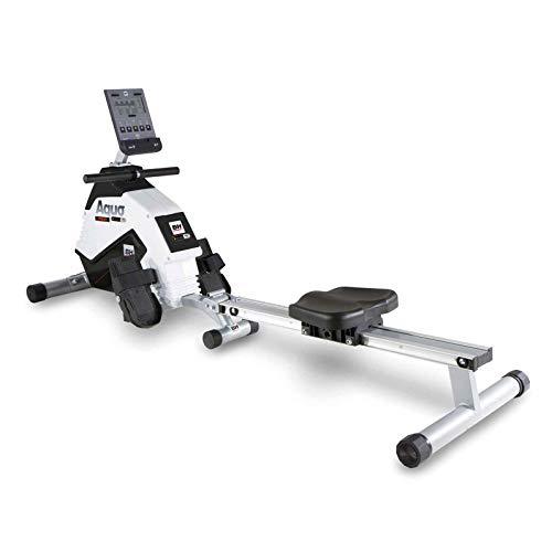 BH Fitness Aquo Dual - Vogatore magnetico pieghevole con volano d'inerzia da 5,5 Kg, Unisex-Adulti, bianco/nero, 179x50x53 cm
