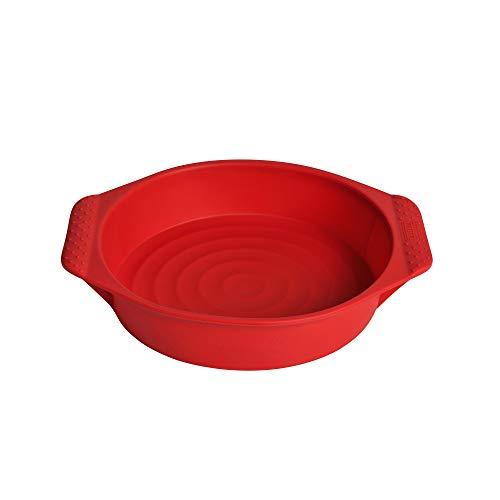 Kaiser Flexo Tortenbodenform, 26 cm, 100{ab4ee94292ae34a85b7479db1b3947b6c6c7dcc8830959d66c5ad8e358a8fecb} Silikon, antihaftbeschichtet, Silikon-Backform zum Einfrieren, spülmaschinengeeignet, rot