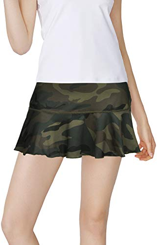 Rainbow Tree Tennis Skirts for Women,Athletic Golf Pleated Skirts with Shorts Indoor Exercise,Runs Large and Short (Camo, S)