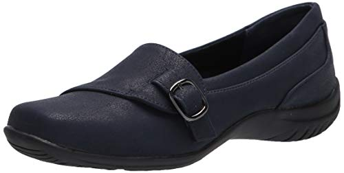 Easy Street womens Flat Sneaker, Navy, 7.5 Narrow US