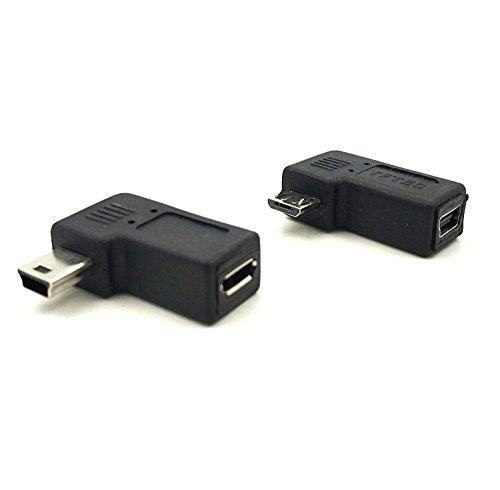 Duttek Adaptador Combo Micro USB a Mini USB, ángulo Recto 90 Grados 1 Pieza Adaptador...