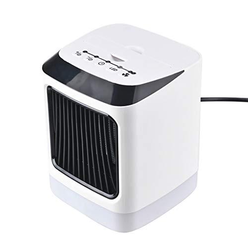 Bascar - Mini Ventilador de Aire Acondicionado portátil con luz LED, Calefactor eléctrico con Temporizador, Calentador de Aire, Ventilador Caliente, para Escritorio de Oficina