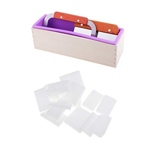 Fenteer Silikonform für Seifen in Quadratisch Form mit Seifenschneider und Seifenbasis Rohseife Schmelzen und gießen Seifen