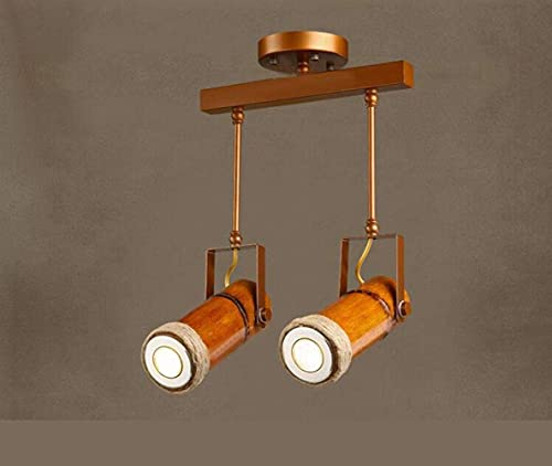 MUZIDP 110-220V Loft Retro Industrial LED Tubo de bambú Cuerda de cáñamo Lámpara Colgante/focos para Bar Balcony Aisle Coffee