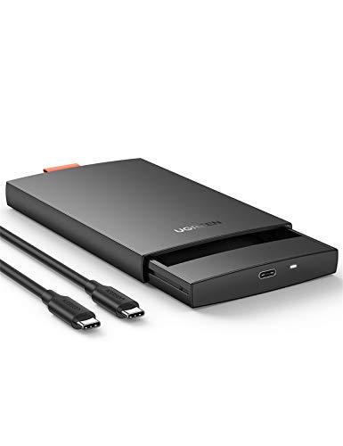 """UGREEN Carcasa Disco Duro 2,5"""" USB C con UASP 6Gbps, Caja Disco Duro 2.5 SSD USB C, Carcasa SSD HDD SATA I/II/III de 7mm 9,5mm, 10TB MAX, para PS5, TV, Macbook, DELL XPS 15, con Cable USB C a USB C"""