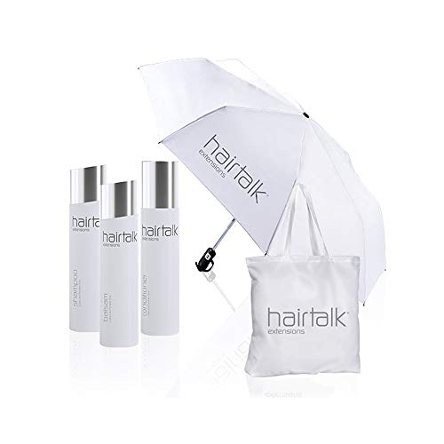 Hairtalk III plus Tasche mit integrierten Regenschirm, 250 ml Shampoo, 250 ml Balsam, 250 ml Conditioner für Extensions,Haarverlängerungen,Bondings