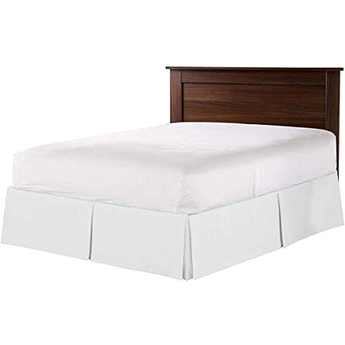 GEBIN Bettrock, Ruffled Solid Bett Rock, Wrap Around Style, Elastische Bett Wrap Ruffle Bed Rock, Elastisch, Einfarbig, Polyester, 38cm Drop. (Weiß,198x203+38cm)