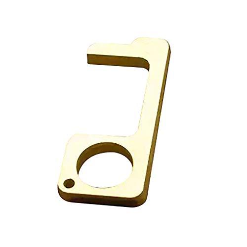 Inverlee 2pcs EDC Door Opener, Door Opener Tool Germs, Hygenic Brass No Touch Door Opener & Stylus Keychain Tool (Gold)