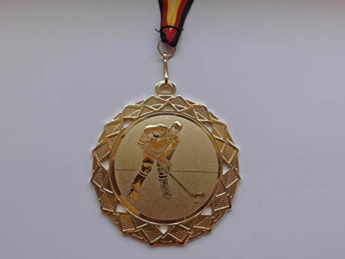 Fanshop Lünen Medaillen - Große Stahl 70mm - mit Alu Emblem 50mm (Gold) - Eishockey - Puck - Kinder - Herren - mit Medaillen-Band - (e111) -