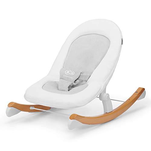 Kinderkraft Babyliege FINIO, Babywippe aus Holz, Licht, Einfach zu Transportieren, mit Liegefunktion, Verstellbare Sicherheitsgurte, Plüsch bedeckt, Sicherheitszertifikat INTERTEK, Weiß