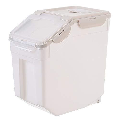 Secchio di Riso Sigillato e Resistente All'umidità 25 kg Farina Secchio Scatola di Immagazzinaggio del Riso Finitura Della Cucina Domestica,Beige