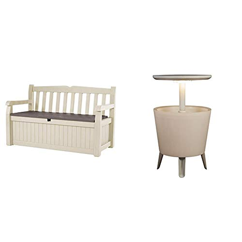 Keter Eden Garden Bench - Banco Arcón Exterior, Capacidad 265 L, Color Marrón y Beige + Mesa Nevera para jardín Cool Bar Iluminado, Color Blanco