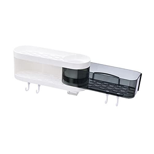6SHINE Organizador de almacenamiento de pared extensible sin perforaciones, con adhesivo, impermeable, para baño y cocina (blanco y negro)