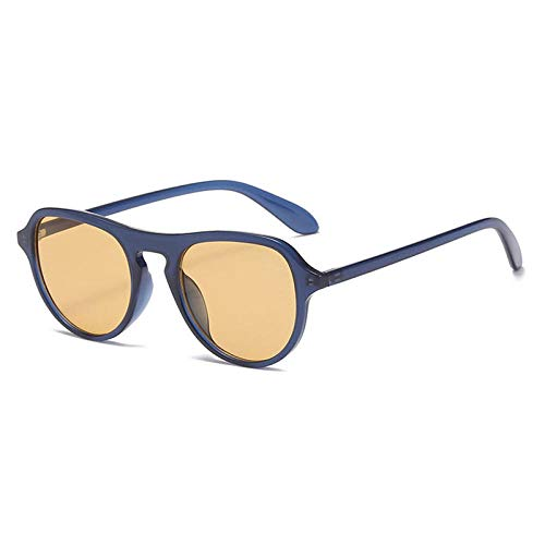 Gafas De Sol Hombre Mujeres Ciclismo Gafas De Sol Redondas Vintage para Mujer Gafas De Sol De Té Amarillo De Moda Gafas De Sol para Hombre-Blue_Yellow