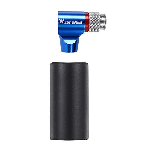 Yanten Fahrrad CO2 Kartuschenkopf, kompatibel mit Schrader Presta Ventil Universal, CO2-Inflator, CO2-Zylinder (blau)