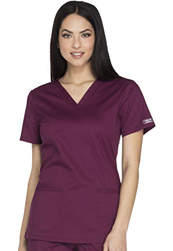 Cherokee Workwear Core Stretch V-Neck Scrub Top, XL, Wine