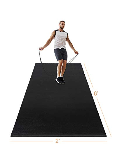 LERYG Yoga Mat Large Fitness Exercise Mat Durable, Non-Slip, Workout Mats for Home Gym Flooring Plyo, Jump, Cardio, MMA Mats Use with or Without Shoes (Black)