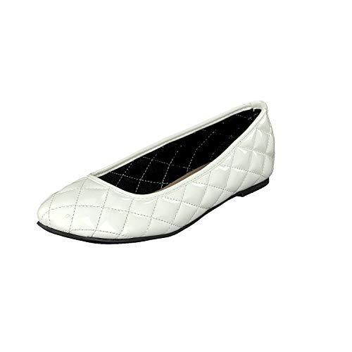 Linea Scarpa Damen Mara Klassik Geschlossene Ballerinas Lackoptik gesteppt: Größe: 36 EU | Farbe: Weiss