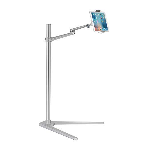 Viozonタブレットスタ ンド(iPadスタンド) 3.5〜6インチのスマホ と7〜13インチのタブ レットに対応します。 iPad、iPhone X、iPad Pro、iPad Mini、iPad Air 1-2 / iPad 2-4と 7〜13インチのタブレ ット(銀⾊)